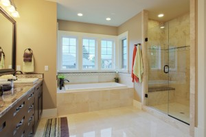 Luxury bathroom with granite countertops and flooring